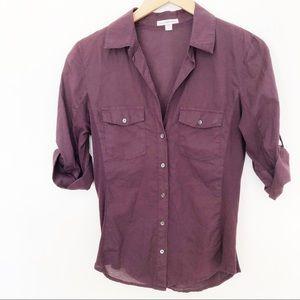 James Perse Purple Sheer Slub Side Panrel Shirt L